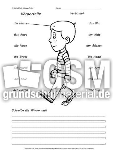 arbeitsblatt vorschule 187 englisch k246rperteile arbeitsblatt