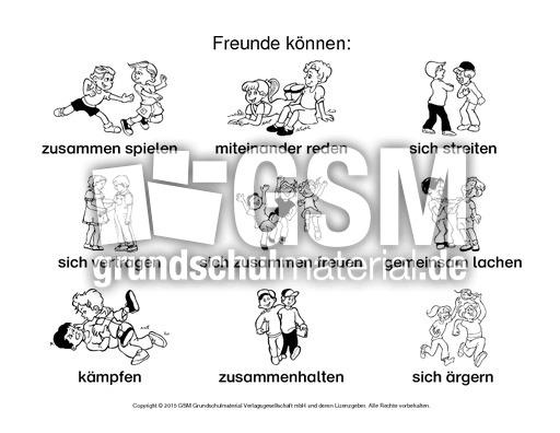 Arbeitsblatt-Freunde können-1-SW - Freundschaft - Gefühle - Themen ...