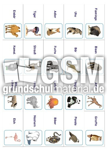 Domino in der Grundschule - Tiere - HuS Klasse 1 - Grundschulmaterial.de