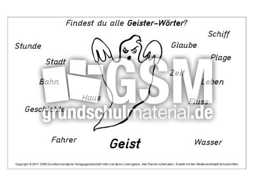 Geist-Wörter - Arbeitsblätter-Halloween - Halloween - Feste und ...