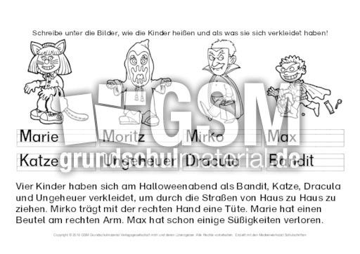 Großartig Halloween Arbeitsblätter Der 3. Klasse Fotos - Ideen ...