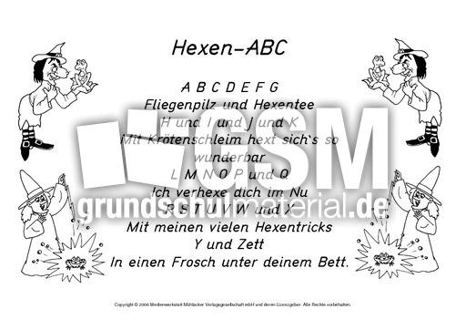 Hexen-ABC-SW - Gedichte-Halloween - Halloween - Feste und Feiertage ...
