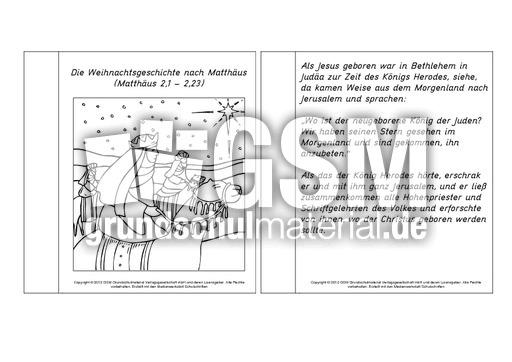Mini Buch Weihnachtsgeschichte Matthäus 1 5 Mini Bücher Lesetexte