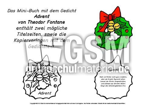 Mini Buch Advent Fontane 1 6 Mini Bücher Klassische