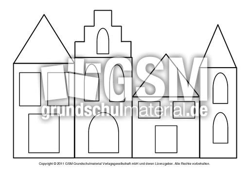 Fensterbild Transparentpapier Häuser 2 Fensterschmuck Basteleien