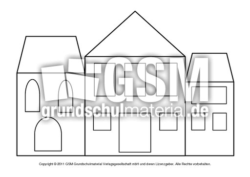 Fensterbild Transparentpapier Häuser 5 Fensterschmuck Basteleien