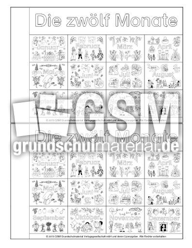 minibuch monate deckblatt 2 minib cher monate die jahreszeiten jahreszeiten hus klasse 2. Black Bedroom Furniture Sets. Home Design Ideas