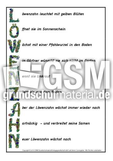 Akrostichon-Löwenzahn-Beispiel - Akrostichons-Frühling - Frühling ...