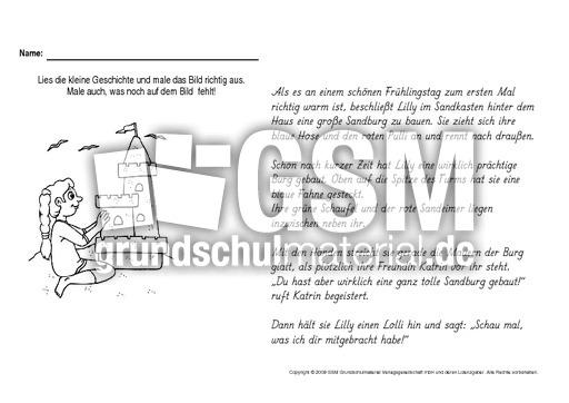 Sandburg malen  Lesen-und-malen-Frühling-6 - Lese-Mal-Blätter - Frühling ...
