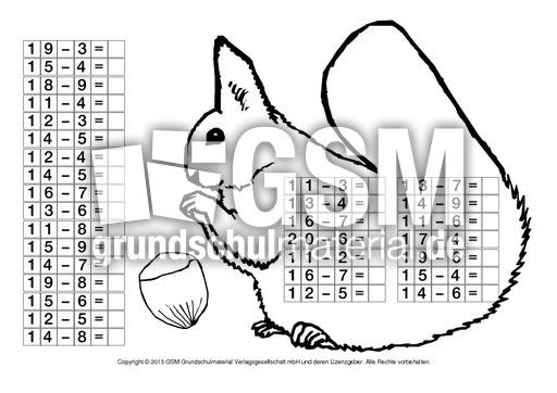 Arbeitsblatt Eichhörnchen Klasse 2 : Eichhörnchen zr subtraktion herbstrechnen