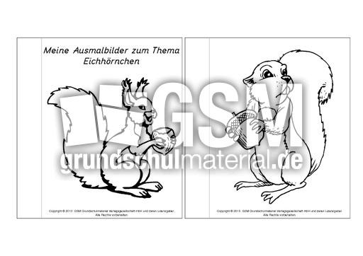 Mini Buch Ausmalbilder Eichhörnchen 1 5 Mini Bücher Ausmalbilder