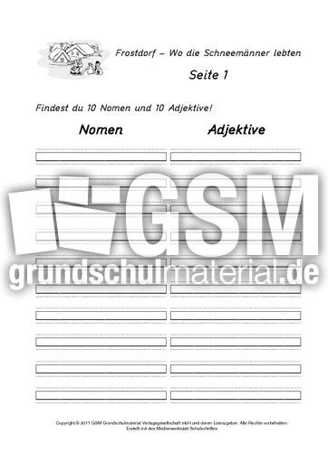 Jahreszeiten Arbeitsblatt Klasse 1 : Frostdorf arbeitsblatt wortarten