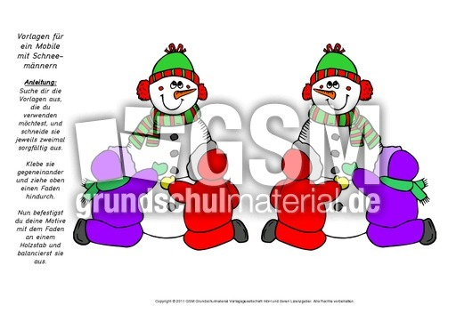 Mobile-Schneemu00e4nner 13 - Schneemann Mobile basteln - Schneemann-Winter-Werkstatt - Winter ...
