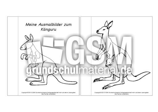 Mini Buch Ausmalbilder Känguru 1 6 Lapbook Känguru Lapbooks