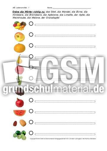 Lebensmittel 1 9 Arbeitsblätter Ernährung Themen Und
