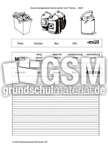Arbeitsblatt Mülltrennung Xiaomi : Zusammengesetzte nomen arbeitsblätter umwelt