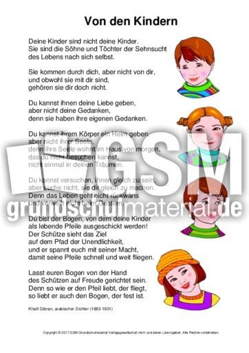 Von-den-Kindern-Khalil Gibran - Arbeitsblätter-Muttertag - Muttertag ...