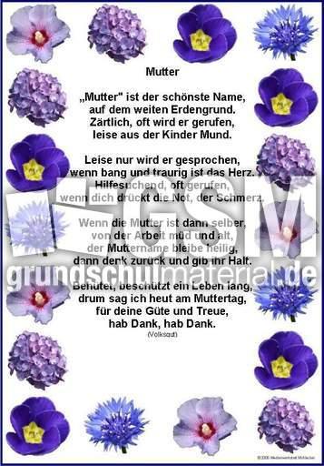 Mutter Volksgut 2 Muttertagsgedichte Als Grafik Gedichte