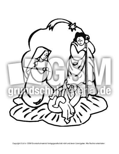 Ausmalbild-Krippe-6 - religiöse Motive - Ausmalbilder - Weihnachten ...