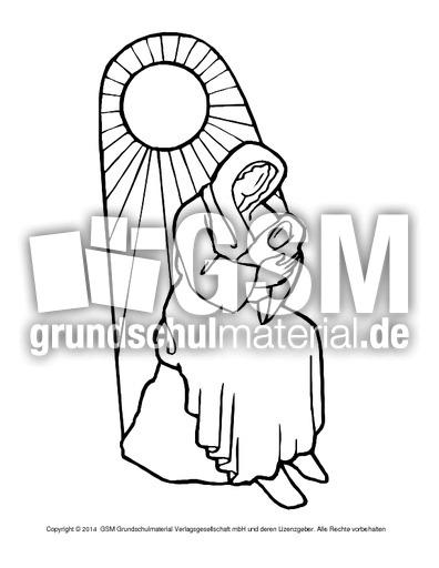 Ausmalbild Maria Jesus 6 Religiöse Motive Ausmalbilder