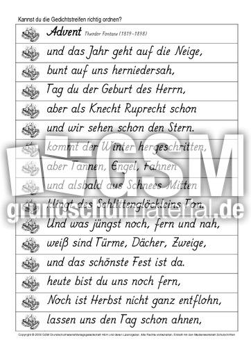 Ordnen Advent Fontane Ordnen Textteile Werkstatt