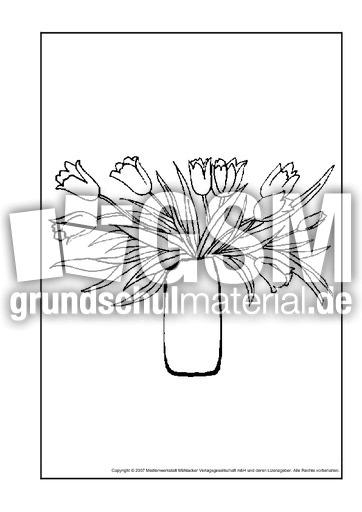 Tulpenstrauß 2 Ausmalbilder Blumen Frühling Jahreszeiten Hus