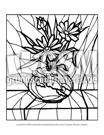 Ausmalbild Blumen Mosaik 8 Ausmalbilder Mosaik Blumen Frühling