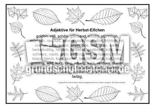 Adjektive Fur Herbstelfchen Herbstelfchen Leporellos Herbst