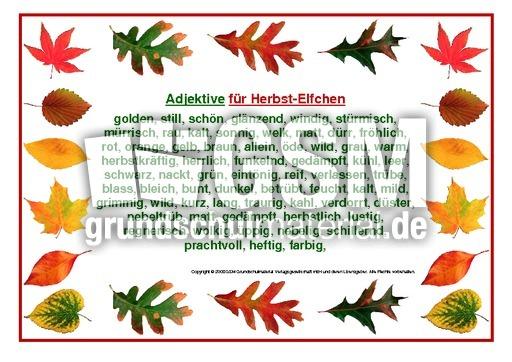 Adjektive Fur Herbstelfchen 2 Herbstelfchen Leporellos Herbst