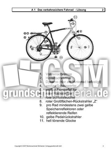 verkehrssicheres fahrrad a blatt 1 arbeitsbl tter das verkehrssichere fahrrad. Black Bedroom Furniture Sets. Home Design Ideas