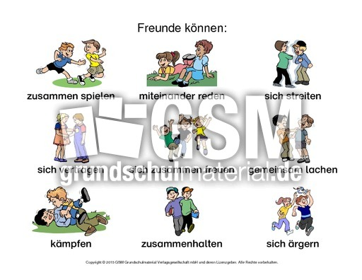 Arbeitsblatt-Freunde können-1 - Freundschaft - Gefühle - Themen und ...