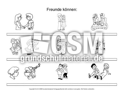 Arbeitsblatt-Freunde können-2-SW-ohne-Text - Freundschaft - Gefühle ...