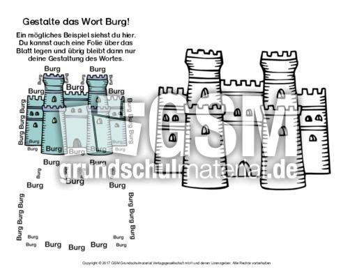 burg wort bild arbeitsbl tter mittelalter ritter themen und projekte hus klasse 3. Black Bedroom Furniture Sets. Home Design Ideas