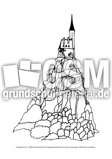 Ausmalbilder Burgen 1 6 Ausmalblätter Mittelalter Ritterzeit