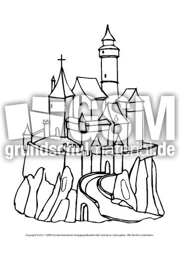 Ausmalbilder Burgen 1 6 Ausmalblätter Mittelalter