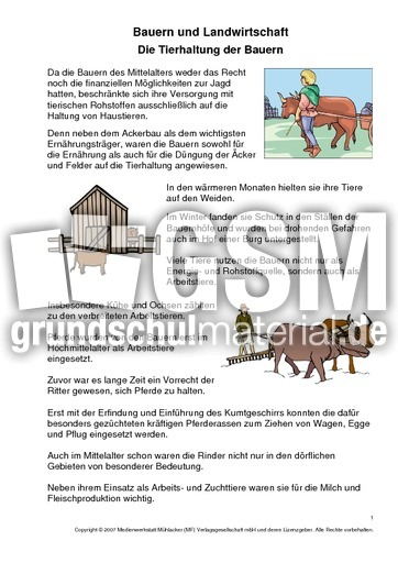 tierhaltung der bauern 1 2 bauern landwirtschaft mittelalter ritter themen und projekte. Black Bedroom Furniture Sets. Home Design Ideas