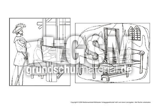 leinenweber ausmalseite berufe mittelalter ritter themen und projekte hus klasse 3. Black Bedroom Furniture Sets. Home Design Ideas