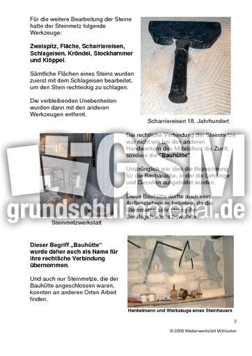 steinmetz 1 3 berufe mittelalter ritter themen und projekte hus klasse 3. Black Bedroom Furniture Sets. Home Design Ideas