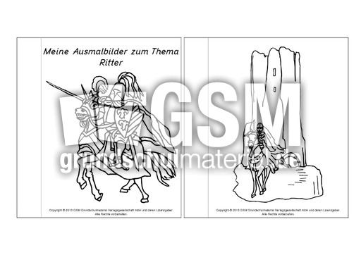 Mini Buch Ausmalbilder Ritter B 1 4 Minibücher Ausmalbilder