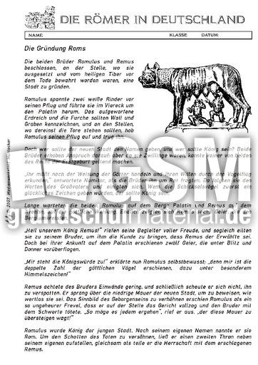 lt romulus und remus ab lesetexte r mer in deutschland themen und projekte hus klasse 3. Black Bedroom Furniture Sets. Home Design Ideas