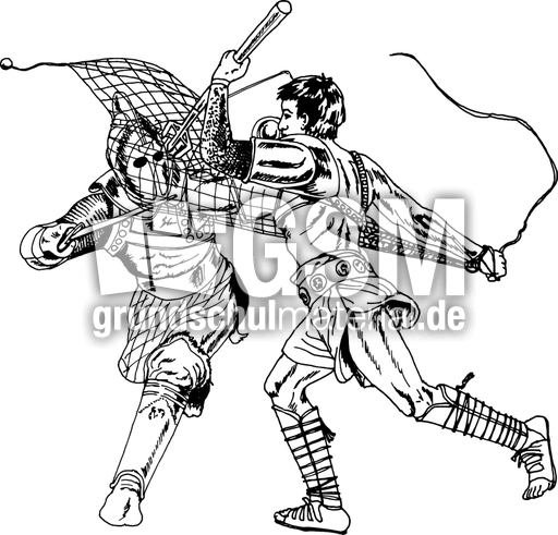 gladiatorzweikampf1sw  bilder sw  zeichnungen  römer