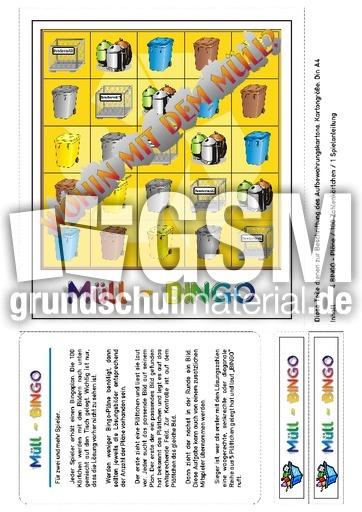 M Bingo-Titel - Bingo fu00fcr 4-6 - Umwelt - Mu00fclltrennung - Themen und Projekte - HuS Klasse 3 ...