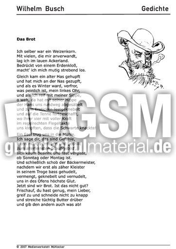 Das Brot Gedichte Arbeitsbögen Wilhelm Busch Themen