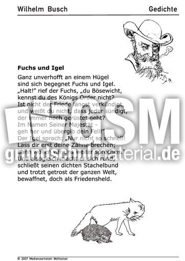 Fuchs Und Igel Gedichte Arbeitsbögen Wilhelm Busch