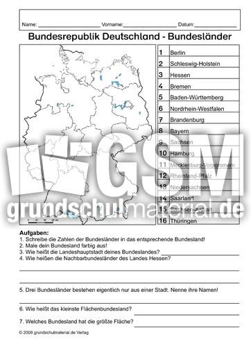 Arbeitsblatt Bundeslu00e4nder - Bundeslandkarten ...