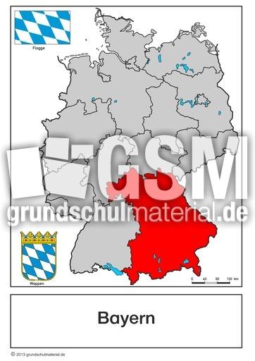 Wappen-Bayern - Bundeslandkarten - Bundesrepublik Deutschland