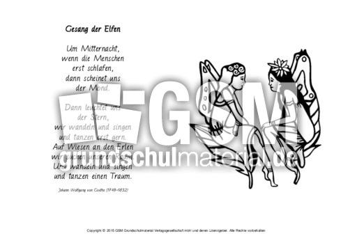 Gesang Der Elfen Goethe Ausmalen Gedichte Klassisch