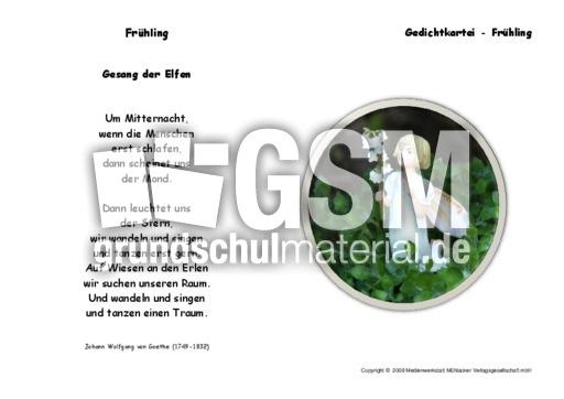 Gesang Der Elfen Goethe Gedichte Klassisch Frühling