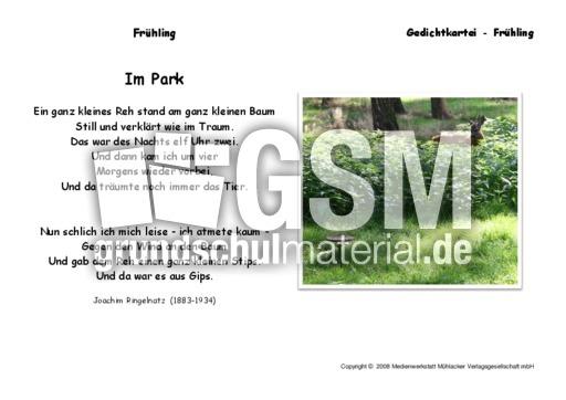 Ringelnatz gedichte im park