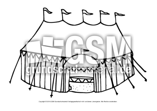 Ausmalbild Zirkuszelt 2 Im Zirkus Ausmalbilder Bildende Kunst